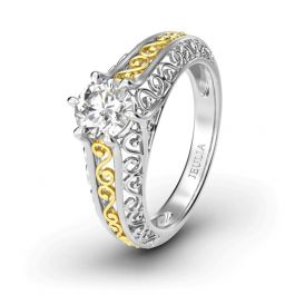 Two Tone Scrollwork Round Cut Sterling Silver  Ring