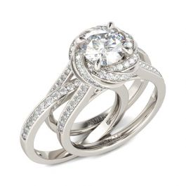 Floral Halo Round Cut Interchangeable Sterling Silver Ring Set
