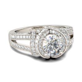 Halo Split Shank Round Cut Sterling Silver Ring