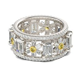 Flower Design Emerald Cut Sterling silver Ring
