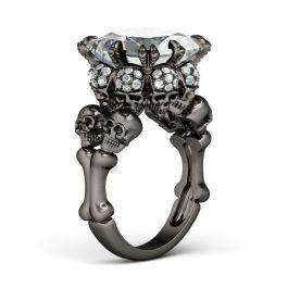Jeulia  Black Tone Princess Cut Sterling Silver Skull Ring