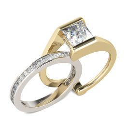 Interchangeable Princess Cut Sterling Silver Set