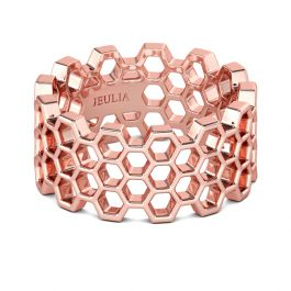 Rose Gold Tone Honeycomb Sterling Silver Women's Band