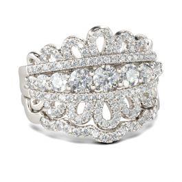 Round Cut Crown Motif Sterling Silver Ring Set