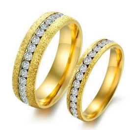 Jeulia Gold Tone Titanium Steel Couple Rings