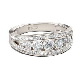 Jeulia Split Shank Sterling Silver Ring