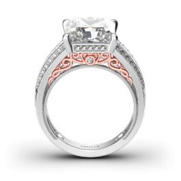Scrollwork Princess Cut Sterling Silver Ring