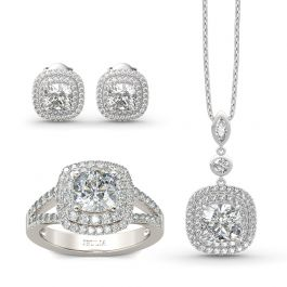 Double Halo Cushion Cut Sterling Silver Jewelry Set