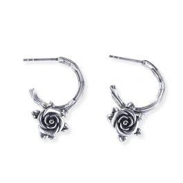 Heart Leaves Rose Branch Earrings