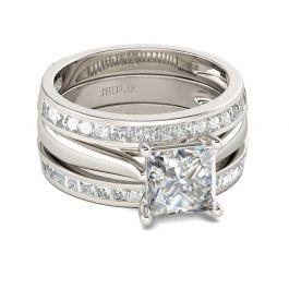 Princess Cut Enhancer Sterling Silver Ring Set