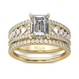 Two Tone Emerald Cut Sterling Silver Ring Set