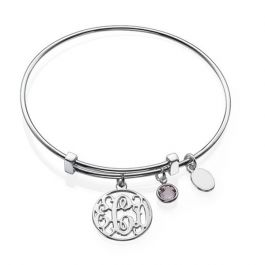 Cut Out Monogram Bangle Sterling Silver