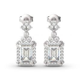 Vintage Flower Halo Emerald Cut Sterling Silver Drop Earrings