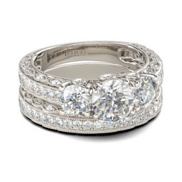 Three Stone Milgrain Round Cut Sterling Silver Ring Set