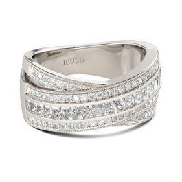 Cross Round Cut Sterling Silver Women's Band