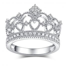 Jeulia  Crown Design Sterling Silver Ring