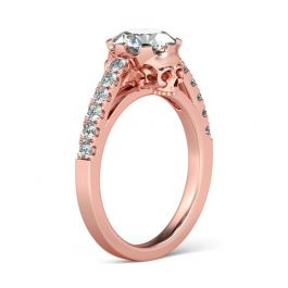 Jeulia  Rose Gold Tone Round Cut Sterling Silver Skull Ring