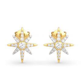 Two Tone Star Sterling Silver Earrings