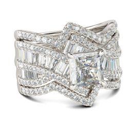 Bypass Princess Cut Enhancer Sterling Silver Ring
