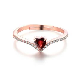Rose Gold Tone Heart Cut Sterling Silver Adjustable Ring
