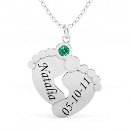 Engraved Baby Feet Family Necklace with Birthstone Sterling Silver