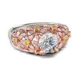 Two Tone Flower Round Cut Sterling Silver Ring