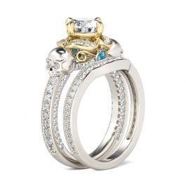 Two Tone Round Cut Sterling Silver Skull Ring Set