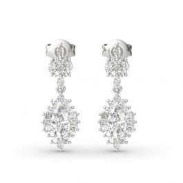 Dazzling Halo Marquise Cut Sterling Silver Earrings