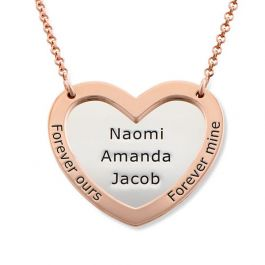Engraved Double Heart Sterling Silver Necklace