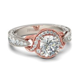 Jeulia Knot Design Round Cut Sterling Silver Ring