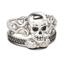 Round Cut Sterling Silver Skull Ring Set