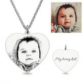 Jeulia  Heart Laser Engraved Personalized Photo Necklace Sterling Silver