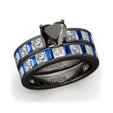Jeulia Black Tone Heart Cut Sterling Silver Ring Set