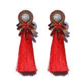 Jeulia Red Tassel Statement Earrings
