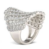 Luxurious Round Cut Sterling Silver Women's Band