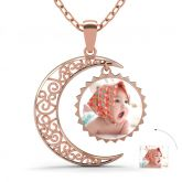 Rose Gold Tone Crescent Moon Personalized Photo Necklace Sterling Silver