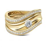 Irregularity Gold Tone Round Cut Sterling Silver Ring Set