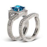 Vintage Halo Princess Cut Sterling Silver Ring Set