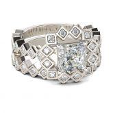 Art Deco Princess Cut Sterling Silver Ring Set