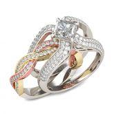 Tri-Tone Princess Cut Interchangeable Sterling Silver Ring Set