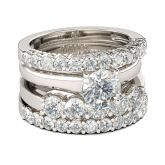 4PC Round Cut Sterling Silver Ring Set