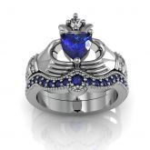 Jeulia  Claddagh Heart Cut Sterling Silver Ring