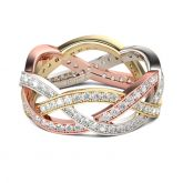 Tri-Tone Intertwined Sterling Silver Women's Band