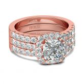 3PC Rose Gold Tone Halo Cushion Cut Sterling Silver Ring Set