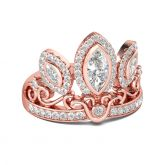 Jeulia  Rose Gold Tone Crown Sterling Silver Cocktail Ring