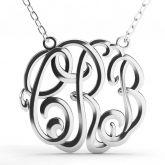 Jeulia  Cube Monogram Necklace Sterling Silver