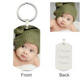 Dog Tag Personalized Photo Keychain Sterling Silver