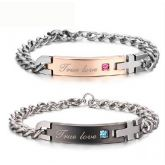 "Jeulia  ""True Love"" Titanium Steel Couple's Bracelets"
