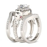 3PC Round Cut Sterling Silver Elephant Ring