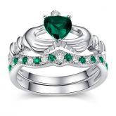 Jeulia   Heart Cut Sterling Silver Claddagh Ring Set